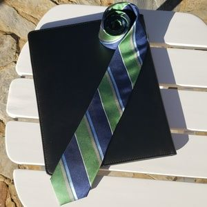 👔 Blue and Green Striped Mens Tie